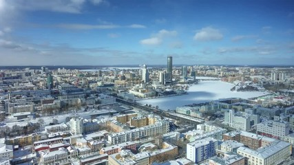 Fototapete - City of Ekaterinburg aerial panorama on winter day. 4K UHD timelapse.