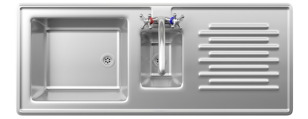 Stainless steel kitchen sink and water tap isolated on white background, top view. 3d illustration