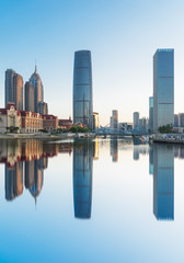 tianjin urban skyline reflection,china.