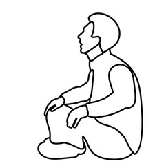 sketch male sitting on the ground