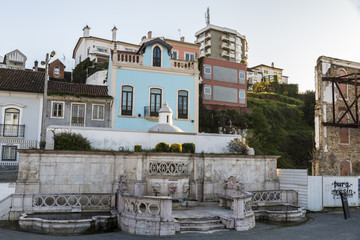 Leiria, Portugal. The Fonte das 3 bicas, also called the Fonte das Carrancas or the Chafariz Grande, an emblematic fountain in the old town of Leiria