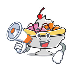 With megaphone banana split character cartoon