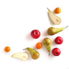 Fototapete - Various fruits: pears, apple, tangerines isolated on white background, top view, flat layout. Composition of various fruits with copy space.