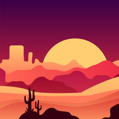 Mexican desert in gradient colors. Landscape with rocky mountains, cactus plants and sunset sky. Vector design for postcard, cover or book or notebook