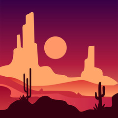 Landscape of sandy desert with rocky mountains and cactus plants. Natural scenery with sunset. Vector in gradient colors