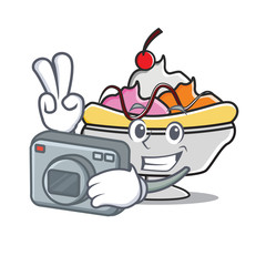 Photographer banana split mascot cartoon