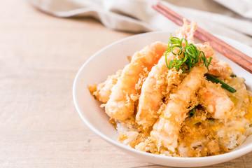 fried shrimps tempura on topped rice bowl