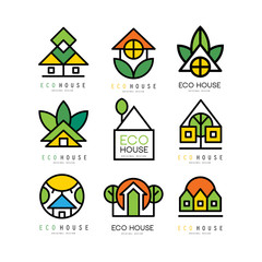 Vector set of original logos with eco friendly houses. Ecological construction. Linear emblems for or architectural service, building or real estate agency