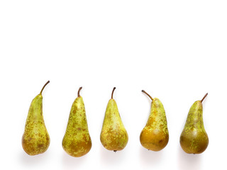 Fototapete - Composition of green pears isolated on white background with copy space. top view, flat lay.