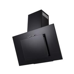 Modern black kitchen hood, isolated on white.