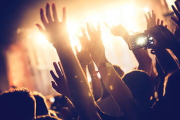 Cheering crowd with hands in air at music festival