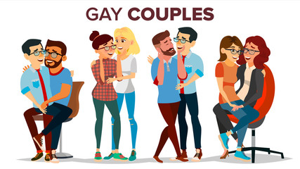 Gay, Lesbian Couple Set Vector. Hugging Men And Women. Same Sex Marriage. Romantic Homosexual Relationship. LGBT. LGBTQ. Isolated Flat Cartoon Character Illustration