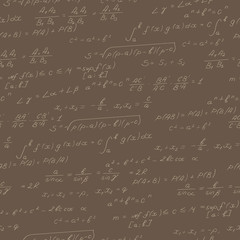 Seamless pattern on the theme of the subject of mathematics, formulas, theorems , beige outline on a brown background