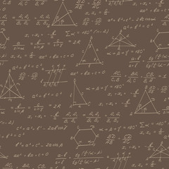 Seamless pattern on the theme of the subject of geometry , formulas, and charts of theorems , beige outline on a brown background