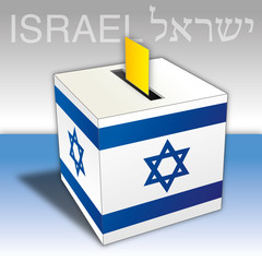 Israel elections, voting ballot box with flag and symbols