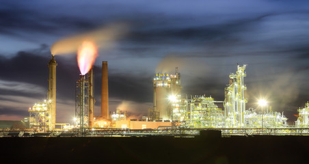 Petrochemical oil industry on night, Factory.