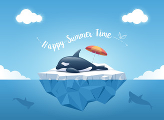 Cute Orca or the killer whale sleeping on the iceberg with beach umbrella. Iceberg with above and underwater view. Whales swim in the ocean. Summer background concept. Vector illustration.