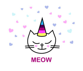 Face Cats. Meow. Unicorn, cute graphics