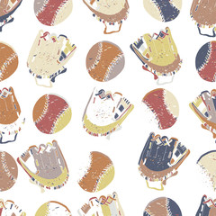 Seamless pattern. Vector hand drawn illustration of a  baseball gloves and balls . Can use it for wallpaper, wrapping, cards and so one.