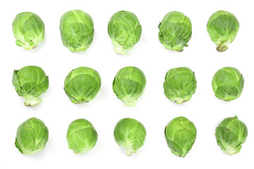 Poster Brussels Brussels sprouts isolated on white background closeup. Top view. Flat lay. Set or collection