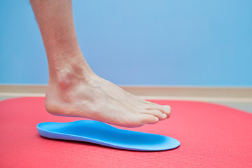 Foot on orthopedic insoles medical foot correction