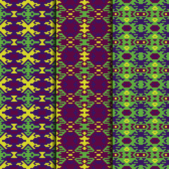 Set of 3 seamless patterns tribal design. Ethnic textile prints. Vector fashion backgrounds.