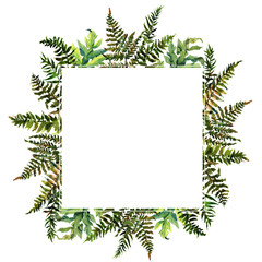 Forest tern watercolor wreath frame design with place for date and text. Bracken grass green border, Forest fern illustration.
