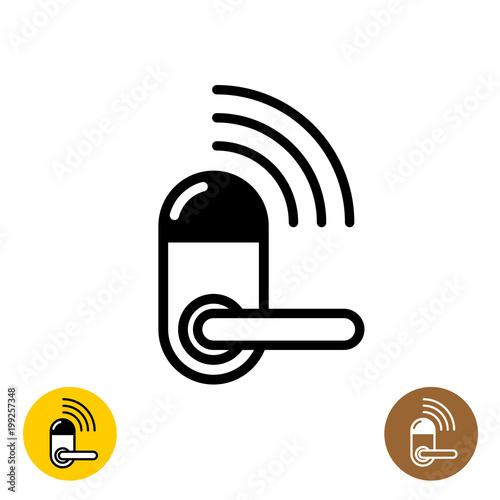 Wireless door lock icon. Smart home door symbol.\