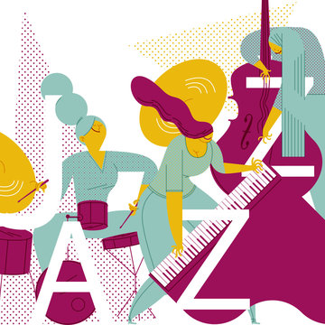 A FANTASTIC JAZZ TRIO. DRUMS, DOUBLE BASS AND PIANO. Serie of funny illustrations with cool musicians and instruments.