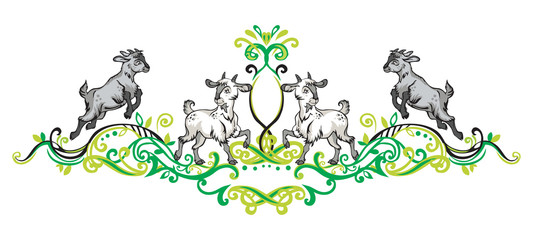 Ornament with goats