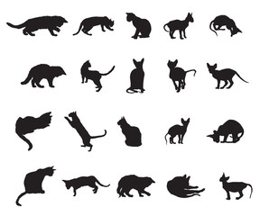 Set of cats silhouettes-3