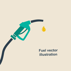 Fuel pump icon. Petrol station sign. Gas station sign. Fuel background. Vector illustration, flat design. Gasoline pump nozzle with drop.