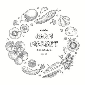 Vegetable vector circle with cucumber, tomato, pepper, eggplant, potato, peas, carrot, broccoli. Healthy food design template with hand drawn vegetables. Great for design menu, recipes, poster.