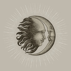 Face in Sun and Moon hand drawing vintage engraving money line detail style for tattoo