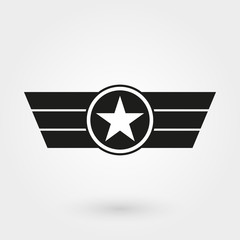 Wings with shield icon. Military and army badge. Pilot logo. Vector illustration.