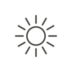Sun icon vector. Line summer symbol.