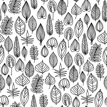 This seamless pattern of black and white autumn leaves will make a great endless background, textile, wrapping paper etc.