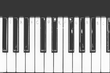 Black and white piano keys with written notes, top view. The concept of music