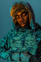 Black Ethnic man in warm clothes