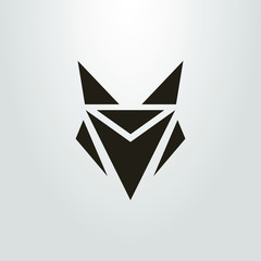Black and white icon of an abstract fox head