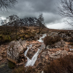 The Water Falls on the River Coupall in Glencoe, Scotland