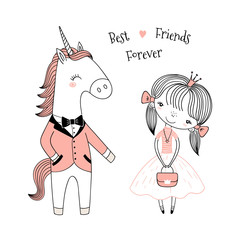 Hand drawn vector illustration of a cute little princess in a pink dress and unicorn in a dinner jacket, with text. Isolated objects on white background. Line drawing. Design concept for kids print.