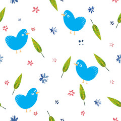 watercolor cute flowers pattern and cartoon birds illustration seamless pattern