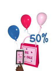 pinkfarbene Einkaufstasche mit Luftballons, einem handy mit sale 50% Werbung und einem Finger der auf einen Button drückt. 3d render
