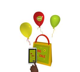 sommerliche Einkaufstasche mit Luftballons, einem handy mit Big sale Werbung und einem Finger der auf einen Button drückt. 3d render