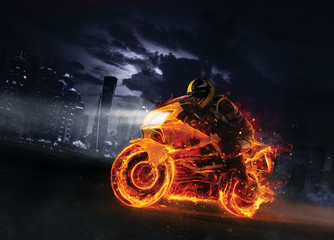 Super-sport fire motorbike with skyscrapers on background