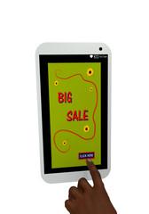 Handy mit Werbeanzeige Big Sale und einem Finger der auf einen Button drückt. 3d render