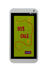 Handy mit Werbeanzeige 30% Sale. 3d render