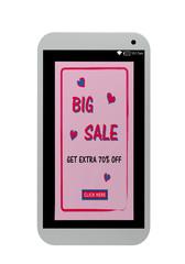 Handy mit rosa Big Sale Werbeanzeige. 3d render