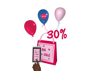 pinkfarbene Einkaufstasche mit Luftballons, einem handy mit sale 30% Werbung und einem Finger der auf einen Button drückt. 3d render